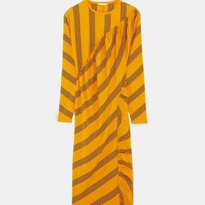 NWT Zara Striped Gathered Midi Dress - L